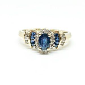 10k Yellow Gold Blue Sapphire & Diamond Ring